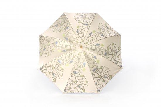 織地の傘 (グリーンベージュ)