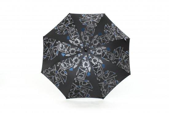 織地の傘 (ブラック)
