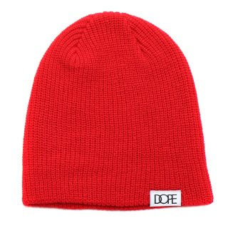 Woven Label Beanie Red