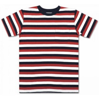 COLUMBIA KNIT / s/s 3color multi border  (RED/WHITE/NAVY)