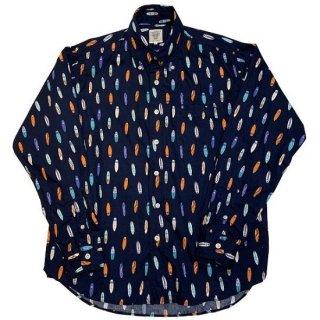 シャーキーズ SHARKEY'S / 長袖 ボタンダウンシャツ サーフボード柄 L/S BD SHIRT (NAVY)
