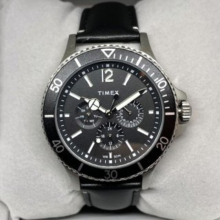 TIMEX / Men's Harborside Black Leather Strap Watch TW2U12900VQ 42mm