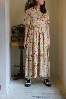 vintage 花柄マキシ丈ドレス ワンピース
