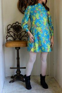 60-70's vintage 水色×花柄パフスリーブ・ワンピース