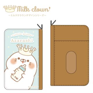 PUレザーコインケース付きパスケース『Milkクラウン/毒舌あざらし』