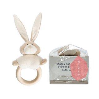 Wooly Organic 木製歯固め付きラトル(ウサギ)
