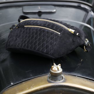 Velor Quilting Motorcycle Shoulder Bag