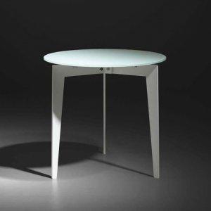 円形カフェテーブル フロストガラス天板/NORDICノルディック イタリア組立家具pezzani(径50x高さ48cm)