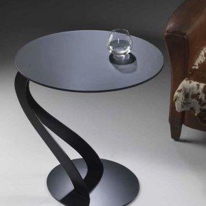 楕円サイドテーブル フロストガラス天板/SWAN 0/26 イタリア組立家具pezzani(幅56奥行48高さ66cm)