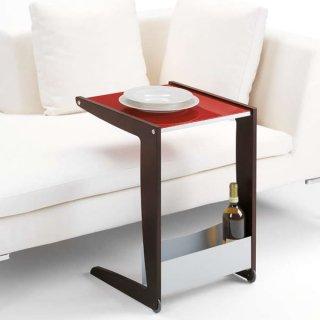キャスター付サイドテーブル(ガラス天板)/VOILA' 0/24  イタリア組立家具pezzani(幅42奥行46高さ61cm)