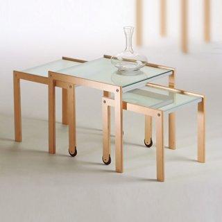 3層ネストテーブル(ガラス天板)/TRIO 0/228 イタリア組立家具pezzani(幅45奥45高さ40cm)
