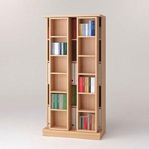 スライド棚2列書棚フナモコ(限定品)ACEシリーズ(エリーゼアッシュ 幅88奥行45高さ179.5)