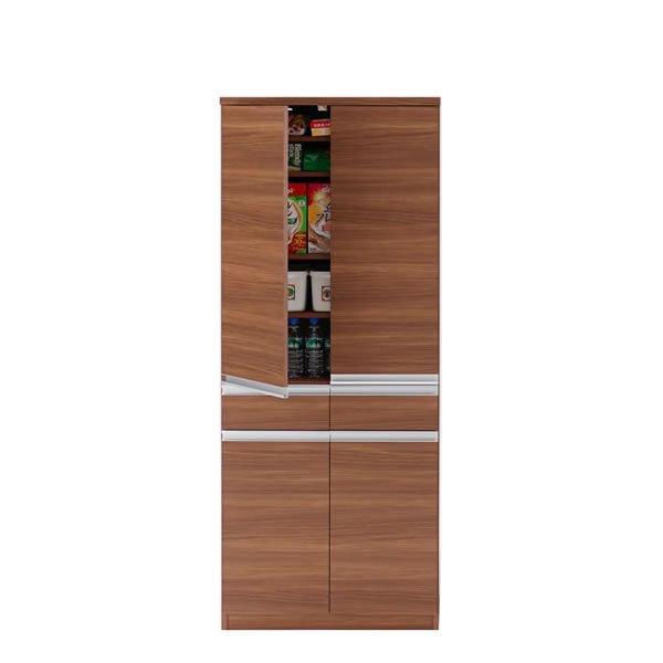 キッチンストッカー(リアルウォールナット 幅73.2奥行44.8高さ180 完成品)