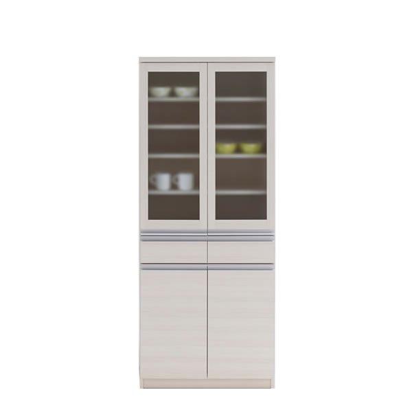 ガラス扉食器棚(ホワイトウッド 幅73.2奥行44.8高さ180 完成品)