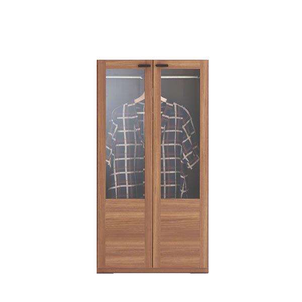 リビングシェルフ 洋服ガラス扉(リアルウォールナット 幅60奥行38.5高さ113.8cm)