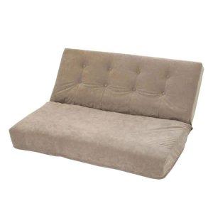 厚みのある座椅子 2人掛/42段階リクライニング(ダブル/スエード調生地 幅107x奥行70x高さ53cm)