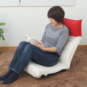 ヘッドリクライニング ツートン布貼り座椅子(ヘッド14段階/背もたれ42段階 幅50x奥行70〜125x高さ73cm)