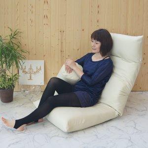 ヘッドリクライニング合成皮革貼 座椅子(ヘッド14段階/背もたれ42段階 幅55x奥行82〜147x高さ18〜83cm)