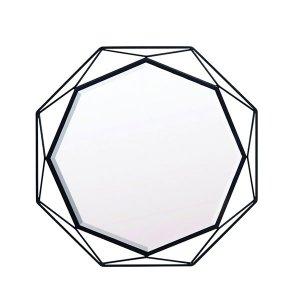 ブラック八角形アイアンフレーム ウォールミラー/八角形(幅50x高さ50cm)