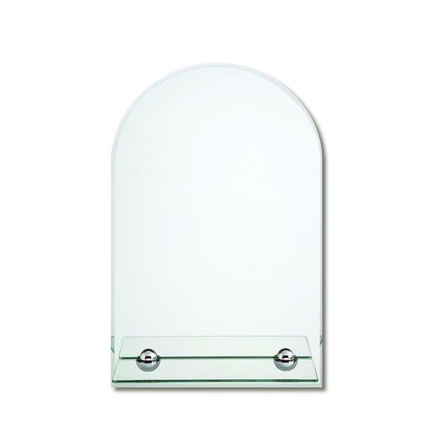 ノンフレーム ウォールミラーガラス棚付/面取り 飛散防止加工(幅45x高さ70cm)