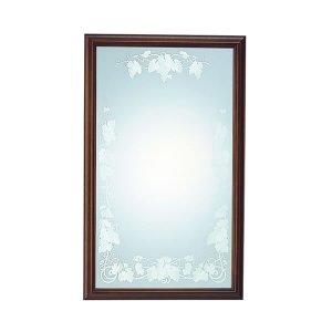 ウォールミラー 植物文様装飾 / サンドブラスト加工・飛散防止加工(幅63.4x高さ104.3cm)