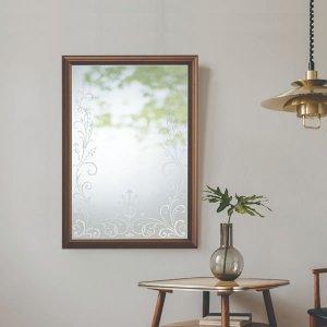 ウォールミラー 植物文様装飾 / サンドブラスト加工・飛散防止加工(幅66.4x高さ94.5cm)