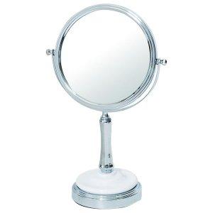アイメイク用拡大鏡付楕円形デスクミラー(両面ミラー片側3倍 幅21奥行13高さ32cm)