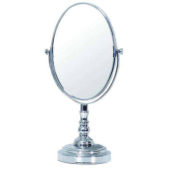 アイメイク用拡大鏡付楕円形デスクミラー(両面ミラー片側3倍 幅21.5奥行14高さ41cm)
