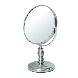 アイメイク用拡大鏡付円形デスクミラー(両面ミラー片側3倍 幅16奥行10.6高さ25.4cm)