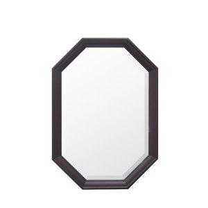 ウォールミラー/八角フレーム オーク材(飛散防止加工 幅35x高さ50)