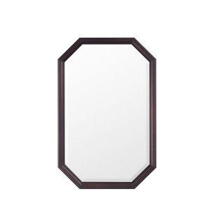 ウォールミラー/八角フレーム オーク材(飛散防止加工 幅45x高さ70)