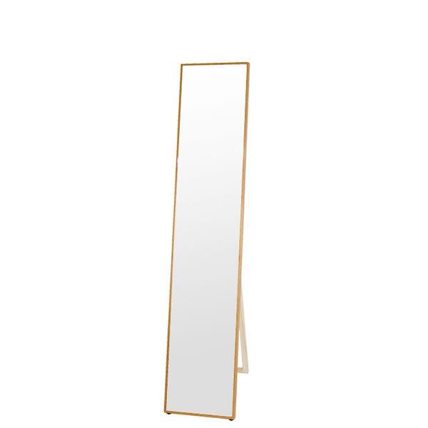 Slim frame series 極細フレームミラーシリーズ スタンドミラー/繊細な10mmフレーム オイル仕上・飛散防止加工・吊り立て兼用・壁ピタ(ナチュラル 幅32高さ156cm)