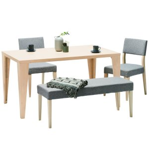 (シンプル)タモ材突板ダイニングテーブル(4人掛/幅135奥行85高さ72cm)