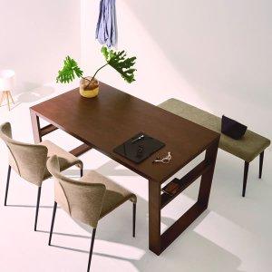 (シンプル)突板貼りダイニングテーブル(4人掛/幅140奥行80高さ70cm)
