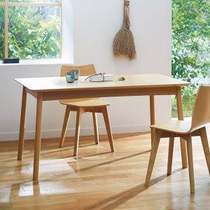 (シンプル)天然木アッシュ突板・ダイニングテーブル(幅135奥行80高さ70cm)