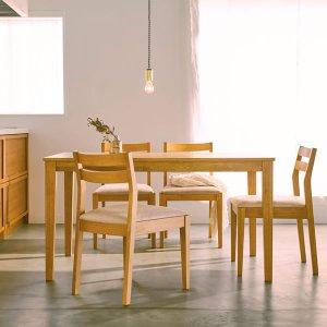 (ウッドナチュラル)ホワイトオーク突板ダイニングテーブル/ラバーウッド脚(幅130奥行80高さ70cm)