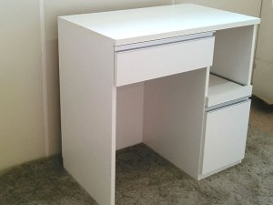 オーダー家具制作事例0632:キッチンカウンター/スライド棚付 ライン取手(幅90x奥55x高85)
