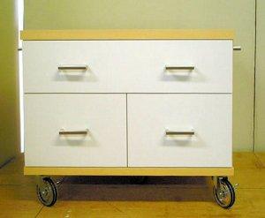オーダー家具制作事例0258:プリンター台「リセット」チェスト2段(ツートンカラー)