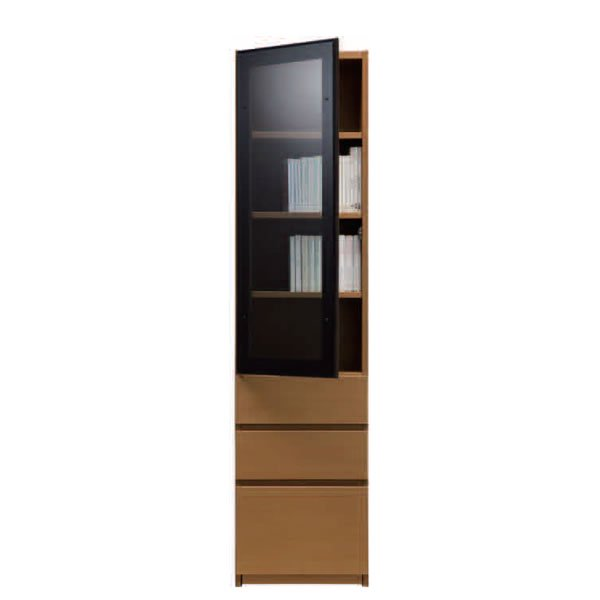 ブックすきまくんBSP/定尺幅 上段ガラス扉-下段引出 幅45x高さ180.2cm
