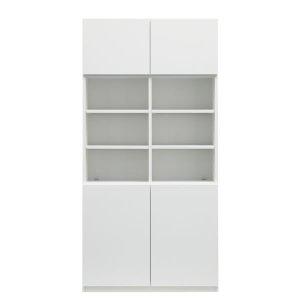 ブックすきまくんBSP/上下段扉-中段棚 幅90x高さ180.2cm