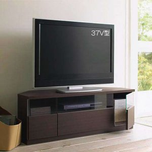 Dee ディー コーナーTVボード ダーク色/壁面置きも可能 ゲーム機収納 37/46型対応(幅120x奥行43x高さ42cm 完成品)