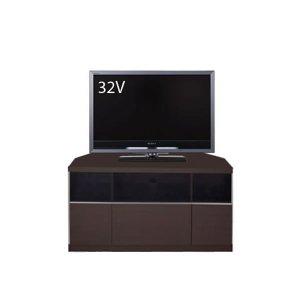 コーナー薄型テレビボード/ゲーム機収納(幅90x高さ42/ダーク/完成品)
