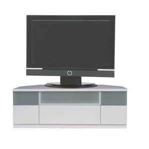 Dee ディー コーナーTVボード ホワイト色/壁面置きも可能 ゲーム機収納 37/46型対応(幅120x奥行43x高さ42cm 完成品)