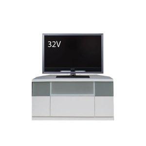 コーナー薄型テレビボード/ゲーム機収納(幅90x高さ42/ホワイト色/完成品)
