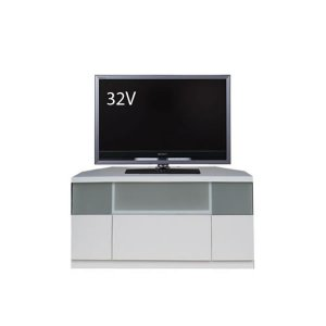 Dee ディー コーナーTVボード ホワイト色/壁面置きも可能 ゲーム機収納 37/46型対応(幅90x奥行43x高さ42cm 完成品)