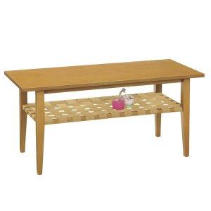木製リビングテーブル(ライト色 幅105x奥行45 マイアン材/MDF)