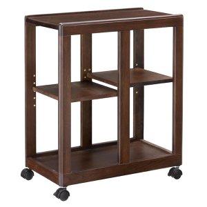 木製ダイニングワゴン/棚板移動式(ブラウン色 キャスター付)[幅33.2奥行60高さ70]