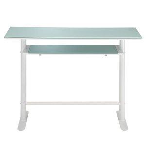 ガラストップ カウンターテーブル/天板下棚付(ホワイト 幅120奥行45高さ90)