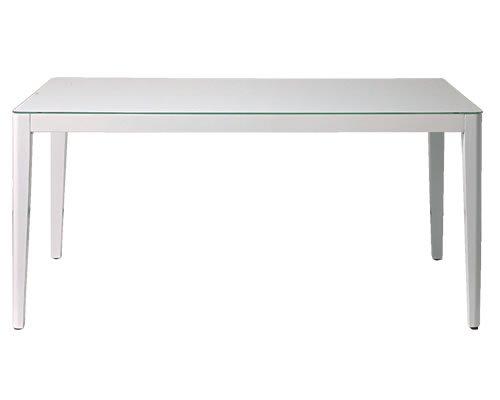 ガラストップ ダイニングテーブル(ホワイト 6mm厚強化ガラス/飛散防止加工 幅135奥行80高さ72)