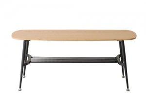 天然木アッシュ化粧天板ダイニングベンチ/ブラックスチールフレーム(幅105奥行40高さ43cm)